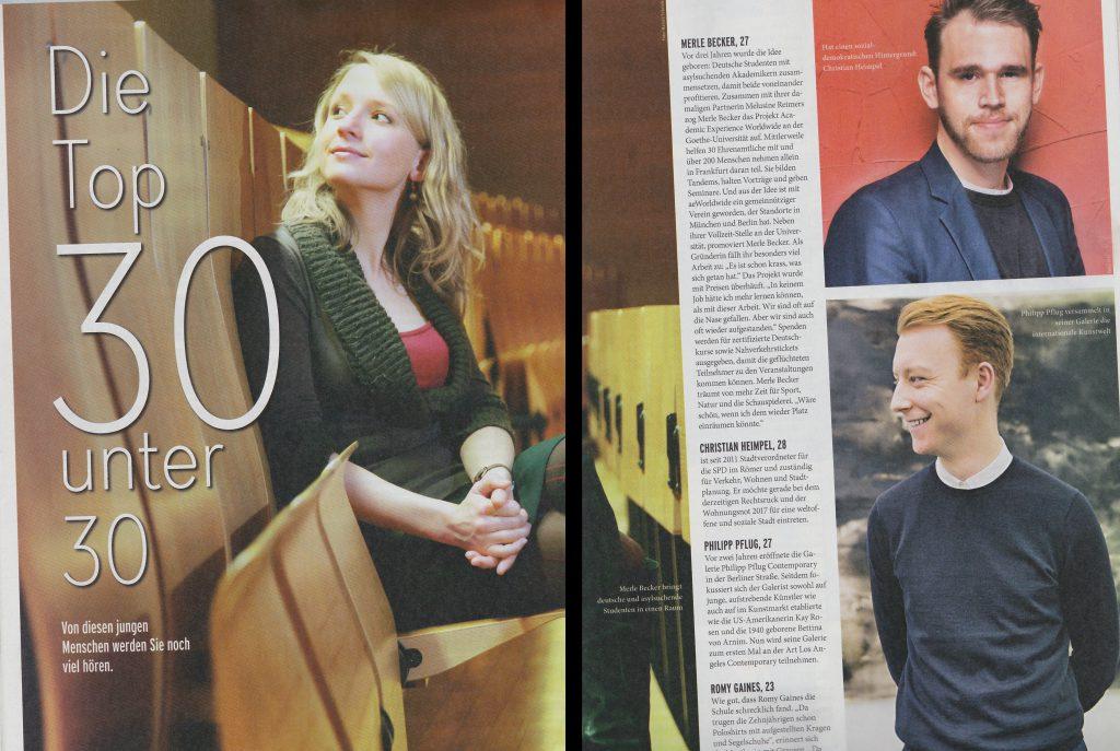 Merle Becker wird von dem Journal Frankfurt unter die 30 bedeutensten Frankfurter unter 30 gewählt. Danke an Harald Schröder Fotografie!
